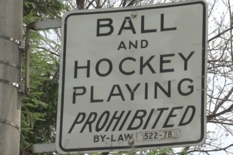 Ball and Hockey Playing Prohibited Sign - Toronto - 2011