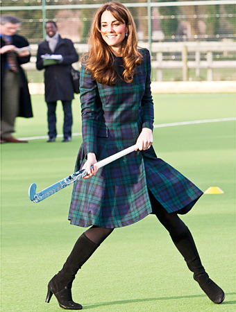 Duchess of Cambridge Plays Field Hockey at St. Andrew's School