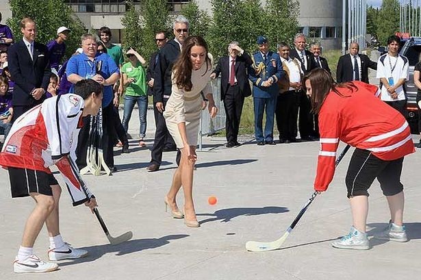 Catherine, Duchess of Cambridge Drops A Hockey Ball in a Faceoff