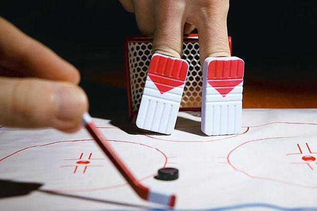 Finger Hockey Demostration - Taking a Shot