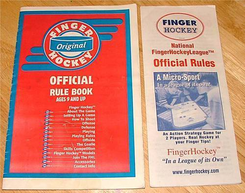 Finger Hockey Rules - Front Cover