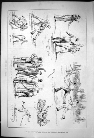 The Game of Hurling - Antique Print - 1881