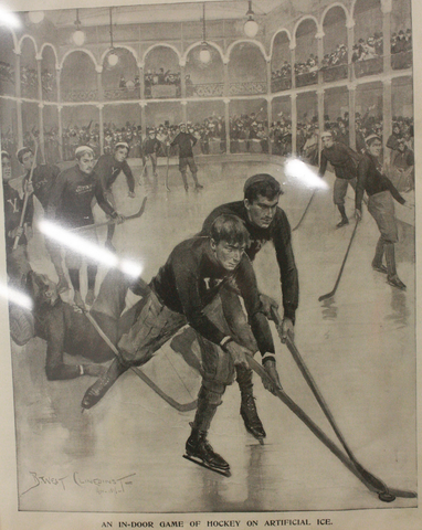Antique Ice Hockey - Yale vs St. Nicholas  1896 - Leslies Weekly