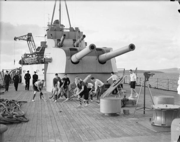 Deck Hockey on the HMS Kent - Royal Navy - 1941