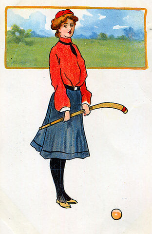 Antique Field Hockey Postcard - Early 1900s