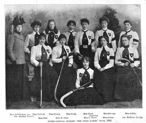 Antique Field Hockey - The Irish Ladies Team - 1901